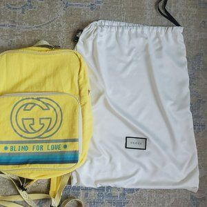 """Gucci Yellow """"Blind for Love"""" Logo Backpack"""
